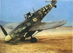 Bf-109G-6 belonging to JG27. Another victim of take-off/landing problems. #9 is also a common site in other Luftwaffe photos over the Meditterranean.