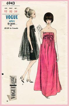 vintage Vogue 6943 sewing pattern 1960s 60s evening cocktail dress Mad Men empire waist gown
