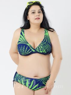 Green Printing New Style Plus Size Sexy Womens Bikini Suit Lidyy1605241043