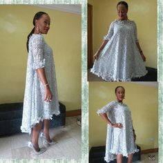 Lace umbrella dress before the gele African Lace Styles, African Lace Dresses, African Dresses For Women, African Attire, African Fashion Dresses, African Wear, Lace Umbrella, African Blouses, Lace Outfit