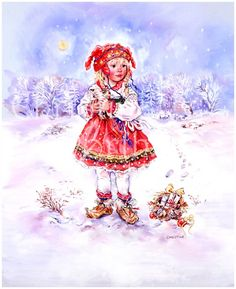 Winter Paintbox Poppets : Christmas Kitten © Copyright Christine Haworth Designs