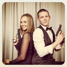 Secret Agent 007 Spy Theme Party photo booth ideas | Props: Sunglasses, Toy Guns, Bow Tie, Agent ID, Hat, Gold Bars, Cocktail, Fake Explosives, small variety of fake Passports, fake Mustaches, Wig, random Banana.