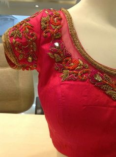 Designer blouse designs with beautiful ideas for neck and back. Browse latest blouse models, saree, patterns online on Happy Shappy Brocade Blouse Designs, Saree Blouse Neck Designs, Fancy Blouse Designs, Designer Blouse Patterns, Bridal Blouse Designs, Neckline Designs, Embroidery Blouses, Aari Embroidery, Sarees