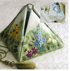 Pyramid Chatelaine by Helen Dafter Sewing kit. Sewing Case, Sewing Box, Sewing Notions, Sewing Kits, Fabric Covered Boxes, Fabric Boxes, Fabric Crafts, Sewing Crafts, Sewing Projects