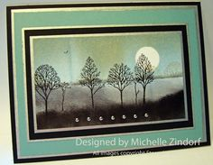 Zendorff card: Lovely as a Tree in gray and aqua...painterly effect...tutorial is great too...