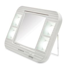 Lighted Beauty Mirror LED Lighted Makeup Mirror with Magnification, Jerdon Led Makeup Mirror, Makeup Mirror With Lights, Vanity Mirrors, Led Mirror, Unique Mirrors, Magnifying Mirror, Battery Lights, Thing 1, Cool Things To Buy