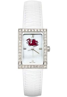 South Carolina Gamecocks Women's Allure Watch with White Leather Strap