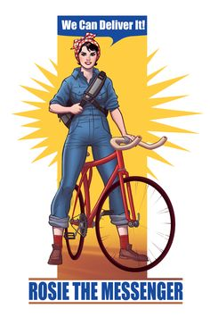 Hopla\'s Rosie the Riveter on a Bicycle design #POTD99 05.02.2013 #vintage #remade