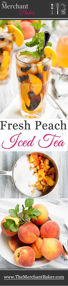 Fresh Peach Iced Tea, made with an easy peachy simple syrup with options to use as a clear syrup, as a syrup with the peaches in it or as a peachy puree.