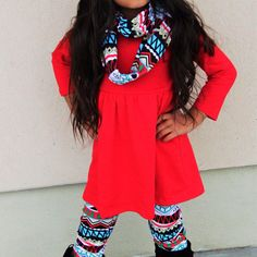 Red Feathered Aztec Scarf Set