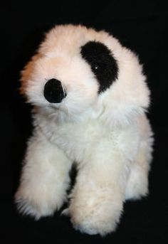 "Dakin Plush Dog Brussels Off White Black Eye Nose 9"" Puppy 24930 Stuffed Animal"