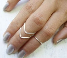 Chevron Ring Knuckle Ring Fine Silver Ring by JewelryByKonstantis Chevron Ring, Midi Rings, Knuckle Rings, Body Piercings, Boho Rings, All About Fashion, Sterling Silver Rings, At Least, Finger