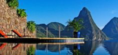 Jade Mountain Hotel, a 5 Star Hotel in St Lucia. A stunning luxury hotel in St Lucia, Caribbean. This hotel offers fantastic holidays and weddings. Caribbean Resort, Caribbean Vacations, Dream Vacations, Vacation Spots, Caribbean Honeymoon, Vacation Deals, Romantic Vacations, Vacation Packages, Vacation Places
