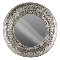 Urban Trends Round Wall Mirror with Dotted Parquet Pierced Frame - 26616