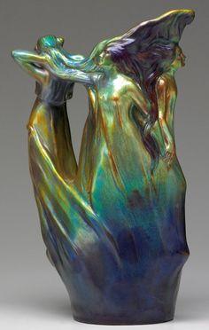 ZSOLNAY Art Nouveau pitcher with four muses under an eosin glaze