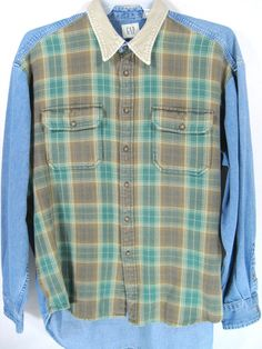 Gap Vtg Men Denium Shirt Size XL Blue Corduroy Collar 100% Cotton Oxford. #GAP #ButtonFront
