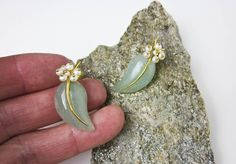 Aventurine Leaf & Pearl Berry Earrings Vintage Sterling Silver w. Gold Wash, Post Backs, Handcarved, Early 1990s. by TampicoJewelry on Etsy