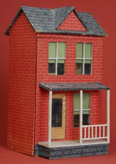 Dollhouse | Paper-Covered Hagerstown Handmade 2-Story 2 Rooms