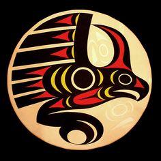 kwakwaka'wakw drums | Thunderbird Drum Tribal Wolf Tattoo, Wolf Tattoos, Native Art, Native American Art, Arte Tribal, Haida Art, Inuit Art, Aboriginal Art, Totems