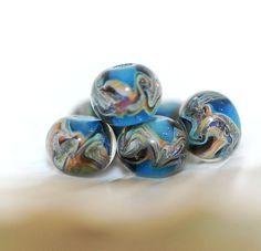 Lampwork BORO glass beads (6), borosilicate glass beads, handmade borosilicate lampwork glass beads, blue, sparkle, silver. borosilicate SRA by Juliyamrboro on Etsy