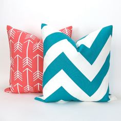 Throw Pillow Cover Set of TWO Coral & Turquoise/Teal (LOVE this arrow pattern!)  by DeliciousPillows on Etsy