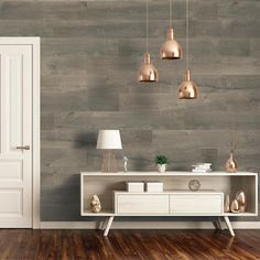 Wide wood-look vinyl planks are not only for the floor. Install them on an accent wall to add style and warmth to a room.