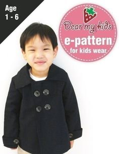 TRENDY UNISEX PEA COAT FOR KIDS - Double breasted, wrist band( Age 1 to 6) PDF patterns