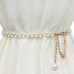 Chic Pendant Embellished Faux Pearl Waist Chain For WomenBelts | RoseGal.com