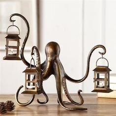"Octopus Whimsical Lantern Candle Holder Metal Sculpture Coastal Nautical 18""W #WhimsicalCoastalNautical"