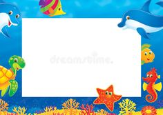 Summer photo frame. High resolution border for your summer photo frame , #SPONSORED, #frame, #photo, #Summer, #High, #summer #ad Under The Sea Crafts, School Border, Page Borders Design, Under The Ocean, Cartoon Fish, Sea Theme, Ocean Themes, Summer Photos, Graphic Design Posters