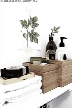 Wood, beautiful bottles, otherwise decant in muji bottles, olive branch fits . - Deko - Home Sweet Home