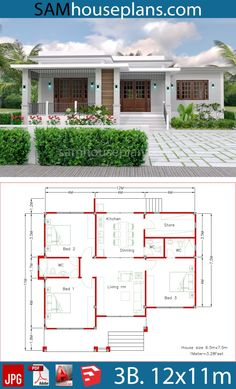House Plans with 3 Bedrooms – Sam House Plans House Plans with 3 Bedrooms – Sam House Plans Image Size: 1280 x Little House Plans, House Layout Plans, Dream House Plans, House Layouts, Bungalow Haus Design, Modern Bungalow House, Bungalow House Plans, Village House Design, Village Houses