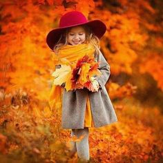 girl in red hat carrying autumn leaves Autumn Photography, Children Photography, Family Photography, Photography Poses, Fall Pictures, Fall Photos, Fall Pics, Cute Kids, Cute Babies