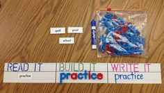 Quick and easy homemade word work activity! Great for Daily Five or literacy centers. Suggested materials: a stencil, magnetic letters, laminated sentence strips and Fountas & Pinnell word cards.   It took me about an hour to make 4 sets. :)