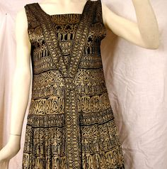 Antique Gatsby 1920s Black and Gold Lame Flapper Dress Art Deco Egyptian Revival Print Museum Display Quality Please Read Descript Carefully