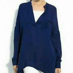Vince Navy Blue Chiffon Oversized Blouse Top M New without tags. Never worn. Perfect condition. Semi sheer. Vince Tops Blouses