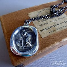 Hope Wax Seal Necklace - Lady of the Sea - Hope and Faith Wax Seal Pendant - 249 by PlumAndPoseyInc on Etsy https://www.etsy.com/listing/60121266/hope-wax-seal-necklace-lady-of-the-sea