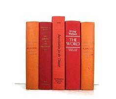 Poppy Red and  Orange Vintage  Books Vintage by DecadesOfVintage, $33.00