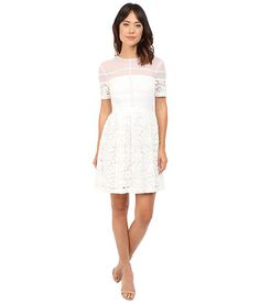 Donna morgan short sleeve lace fit and flare, White Cute Dresses, Short Dresses, Cute Outfits, Dresses For Work, Mesh Dress, Lace Dress, White Dress, Affordable Wedding Dresses, Fit And Flare
