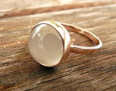 White Moonstone Bezel Set Ring 14 karat pink gold $440.00