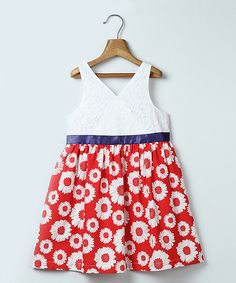 Red Sunflower Print Lace Dress - Infant, Toddler & Girls