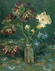 Art Collection, lonequixote:   Small Bottle with Peonies and Blue...