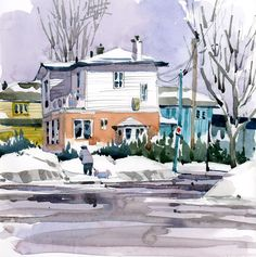 I was out early this morning, sketching a snowy scene in Pointe Claire. I suspect that winter is not entirely over, but as it warms up the snow gradually gets dirtier and the sludge heaps that are …