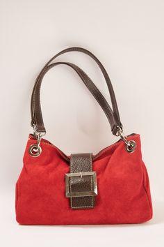 Small suede bag in red #suedebag #handbag