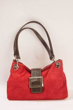 Small suede bag in red #suedebag #handbag