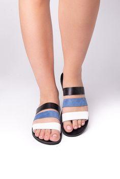 Messene black white blue - Leather sandals- greek flat sandals - handmade sandals #GreekSandals #SummerShoes #AncientGreekSandal #SlipOnSandals #WomenSandals #SummerSandals #HandmadeSandals #SlideSandals #LeatherSandals #GirlSandals Flat Sandals, Slide Sandals, Ancient Greek Sandals, Designer Sandals, Black Leather Sandals, Natural Leather, Summer Shoes, Black White, Handmade