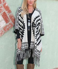 Love this White Mark White & Black Southwest Fringe-Hem Poncho by White Mark on #zulily! #zulilyfinds