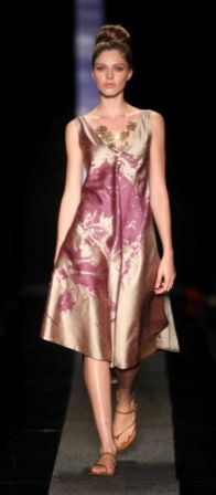 SIES!isabelle SS2013-14 Annecy dress in sand raw silk floral egg print Jewelry by Scarlet Shoes by RedOker