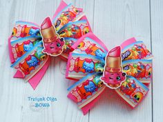 Shopkins hair bow Lippy Lips shopkins hair bow Shopkins party Shopkins Birthday Shopkins outfit Girls Hair Bows Shopkins dress by…