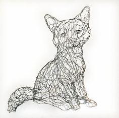 Fox Cub 3D Wire Sculpture by Elizabeth Berrien by WireZoo on Etsy
